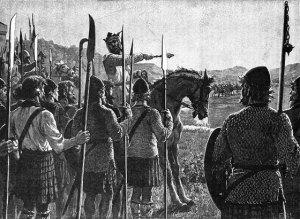 যুদ্ধের পূর্বমূহুর্তে স্কটিশ বাহিনীর উদ্দেশ্যে ব্রুসের ভাষন
